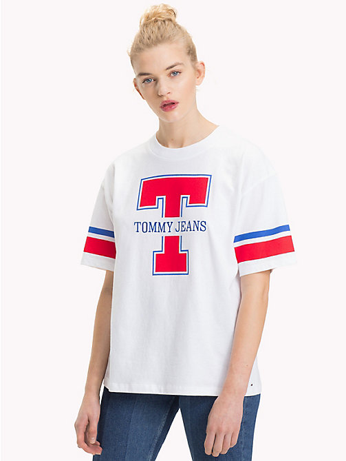 TOMMY JEANS Organic Cotton Logo Top - BRIGHT WHITE - TOMMY JEANS TOMMY JEANS WOMEN - main image