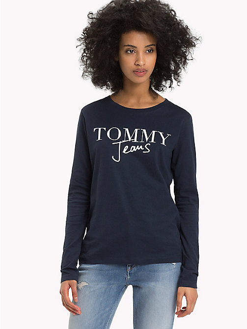 TOMMY JEANS Long Sleeve Cotton LinenT-Shirt - BLACK IRIS - TOMMY JEANS Tops - main image