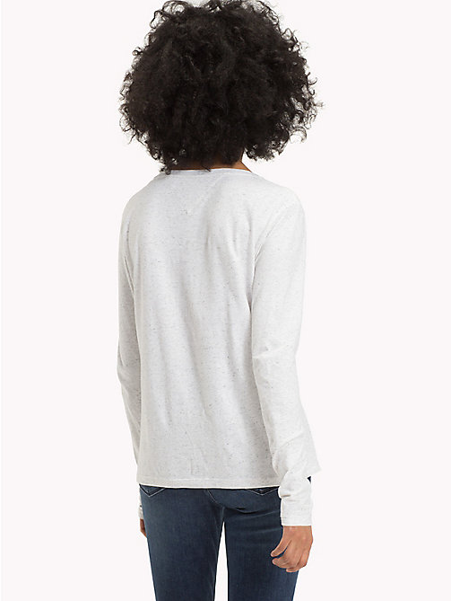 TOMMY JEANS Long Sleeve Cotton LinenT-Shirt - PALE GREY HEATHER - TOMMY JEANS Tops - detail image 1