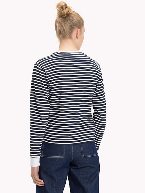 TOMMY JEANS Stripe Cropped Fit Top - BRIGHT WHITE / BLACK IRIS - TOMMY JEANS Tops - detail image 1