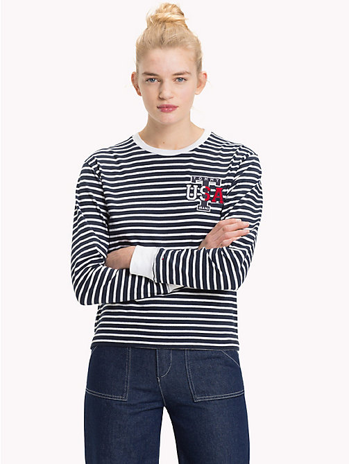 TOMMY JEANS Stripe Cropped Fit Top - BRIGHT WHITE / BLACK IRIS - TOMMY JEANS Tops - main image
