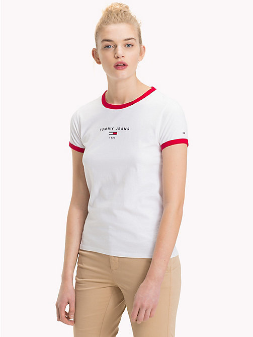 TOMMY JEANS Contrast Trim Logo T-Shirt - BRIGHT WHITE - TOMMY JEANS Clothing - main image