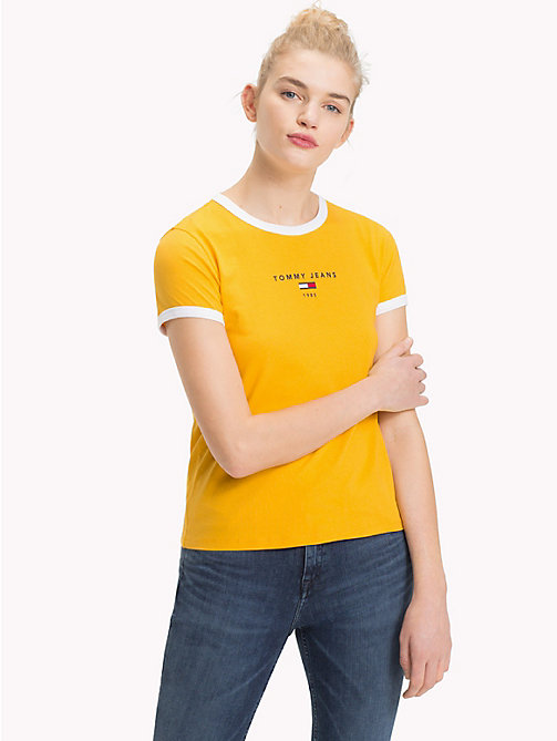 TOMMY JEANS Contrast Trim Logo T-Shirt - MANGO MOJITO - TOMMY JEANS Tops - main image