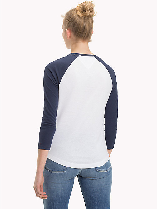 TOMMY JEANS Cotton Raglan Sleeve Top - BRIGHT WHITE / BLACK IRIS - TOMMY JEANS Tops - detail image 1