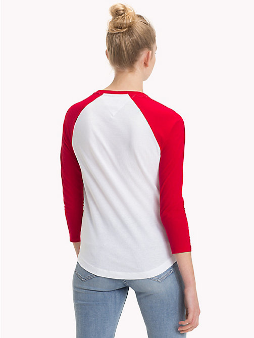TOMMY JEANS Cotton Raglan Sleeve Top - SAMBA / BRIGHT WHITE - TOMMY JEANS Tops - detail image 1