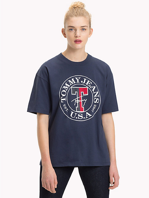 TOMMY JEANS Organic Cotton Stamp Logo T-Shirt - BLACK IRIS - TOMMY JEANS Tops - main image
