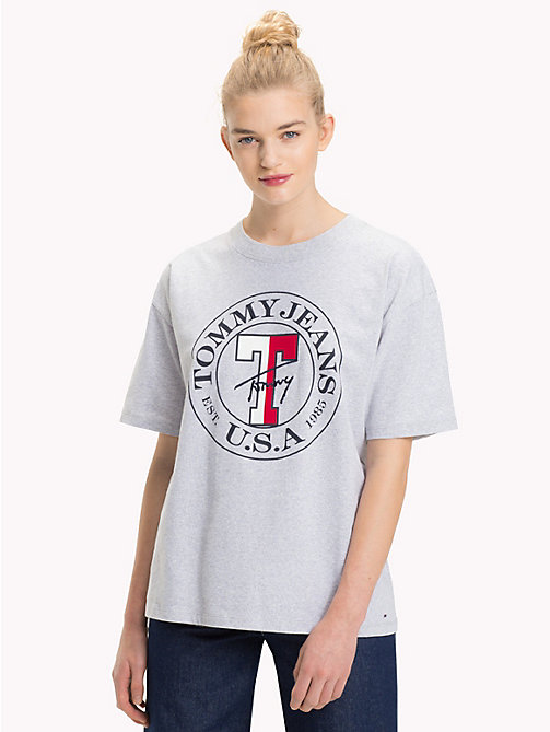 TOMMY JEANS Organic Cotton Stamp Logo T-Shirt - PALE GREY HEATHER - TOMMY JEANS Tops - main image