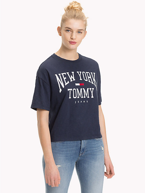 TOMMY JEANS Cropped NYC Logo T-Shirt - BLACK IRIS - TOMMY JEANS Tops - main image