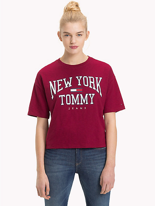TOMMY JEANS Cropped NYC Logo T-Shirt - RUMBA RED - TOMMY JEANS Tops - main image
