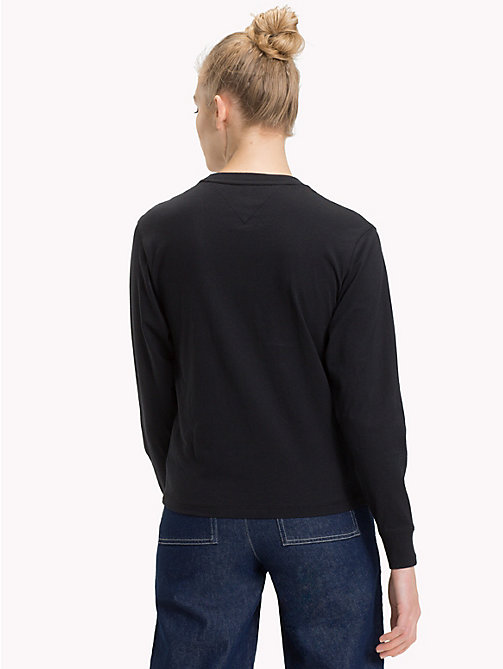 TOMMY JEANS Cropped Signature Long Sleeve T-Shirt - TOMMY BLACK - TOMMY JEANS Tops - detail image 1