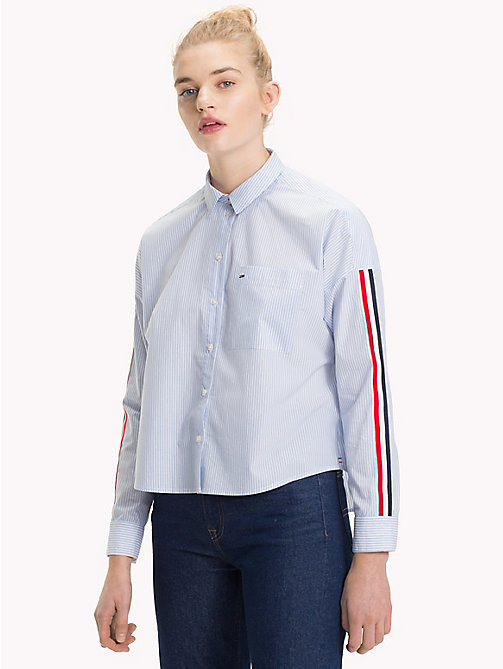 TOMMY JEANS Signature Sleeve Shirt - SERENITY / BRIGHT WHITE - TOMMY JEANS Tops - main image