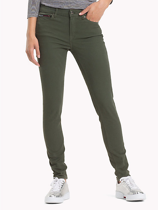 TOMMY JEANS Stretch Cotton Trousers - KOMBU GREEN - TOMMY JEANS Trousers & Skirts - main image