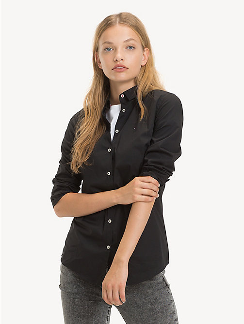 TOMMY JEANS Stretch Slim Fit Shirt - TOMMY BLACK - TOMMY JEANS Tops - main image