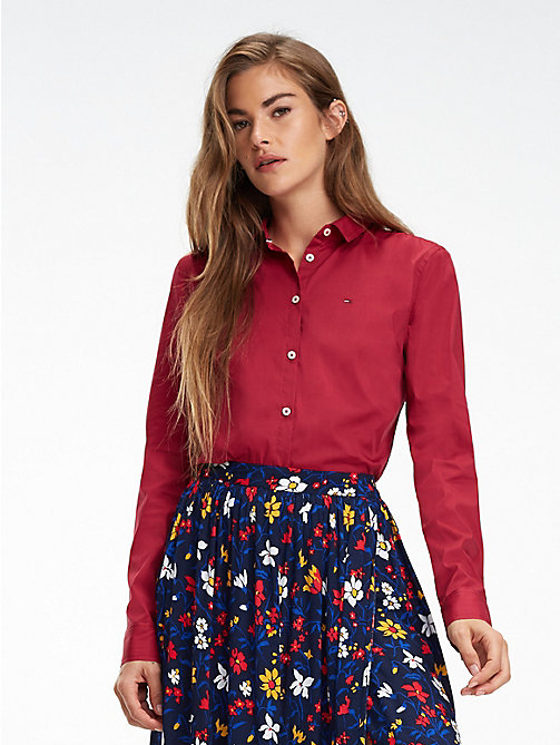TOMMY JEANS Chemise ajustée - RUMBA RED - TOMMY JEANS Tops - image principale