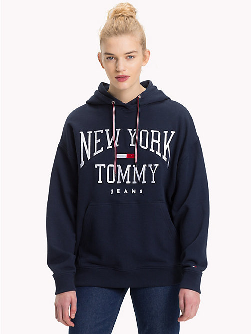 TOMMY JEANS NYC Logo Hoody - BLACK IRIS - TOMMY JEANS Clothing - main image