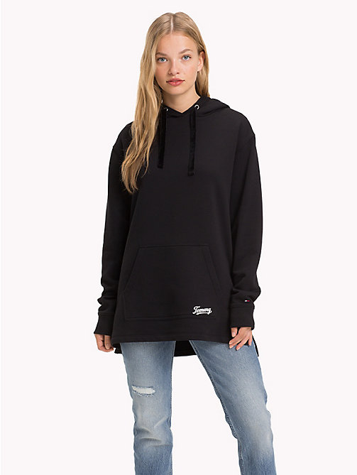 TOMMY JEANS Velvet Drawstring Hoody - TOMMY BLACK - TOMMY JEANS Sweatshirts & Hoodies - main image