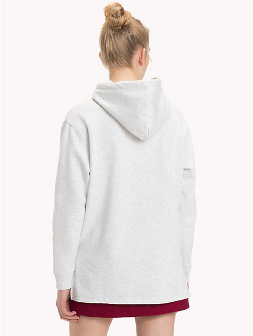 TOMMY JEANS Velvet Drawstring Hoody - PALE GREY HEATHER - TOMMY JEANS Clothing - detail image 1