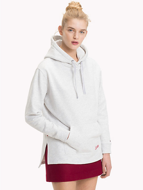 TOMMY JEANS Velvet Drawstring Hoody - PALE GREY HEATHER - TOMMY JEANS Clothing - main image