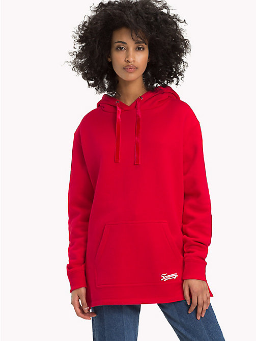 TOMMY JEANS Velvet Drawstring Hoody - SAMBA - TOMMY JEANS Sweatshirts & Hoodies - main image