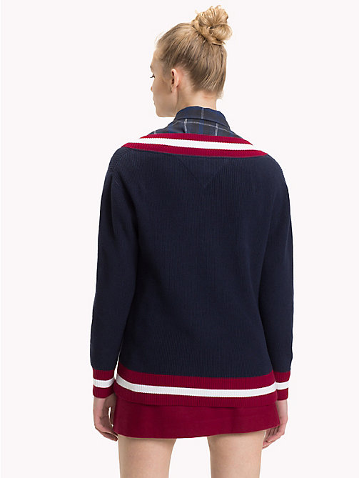TOMMY JEANS Comfort Fit College Jumper - BLACK IRIS / MULTI - TOMMY JEANS Knitwear - detail image 1