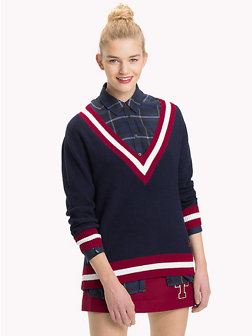 TOMMY JEANS Comfort Fit College Jumper - BLACK IRIS / MULTI - TOMMY JEANS What to wear - main image