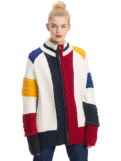 TOMMY JEANS Oversized Chunky Knit Colour-Blocked Cardigan - CLOUD DANCER / MULTI - TOMMY JEANS Knitwear - main image