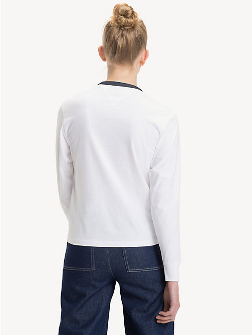 TOMMY JEANS Cropped Fit Long Sleeve T-Shirt - BRIGHT WHITE - TOMMY JEANS Tops - detail image 1