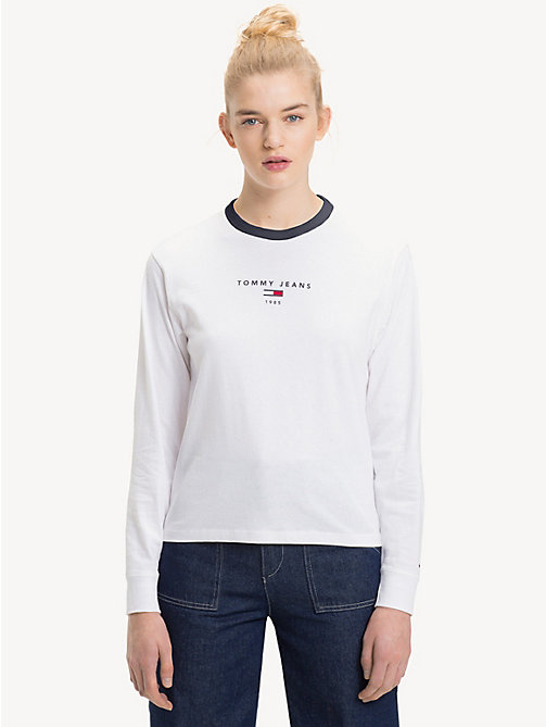 TOMMY JEANS Cropped Fit Long Sleeve T-Shirt - BRIGHT WHITE - TOMMY JEANS Tops - main image