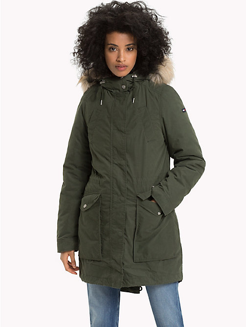TOMMY JEANS Hooded Parka Jacket - KOMBU GREEN - TOMMY JEANS Clothing - main image