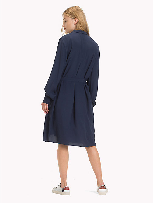 TOMMY JEANS Self-Tie Shirt Dress - BLACK IRIS - TOMMY JEANS Shirt Dresses - detail image 1