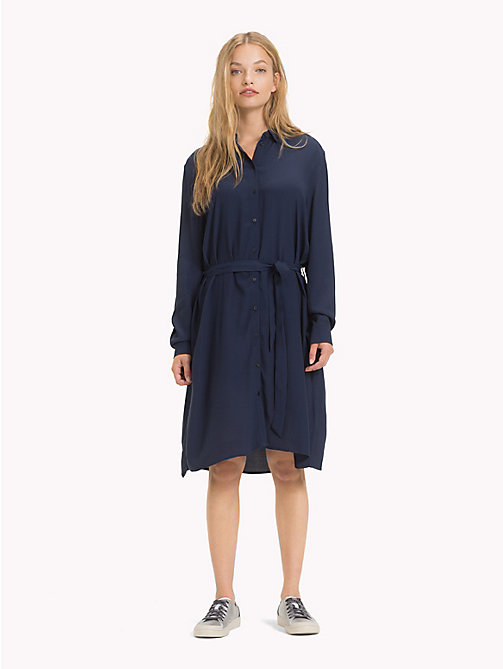 TOMMY JEANS Self-Tie Shirt Dress - BLACK IRIS - TOMMY JEANS Shirt Dresses - main image
