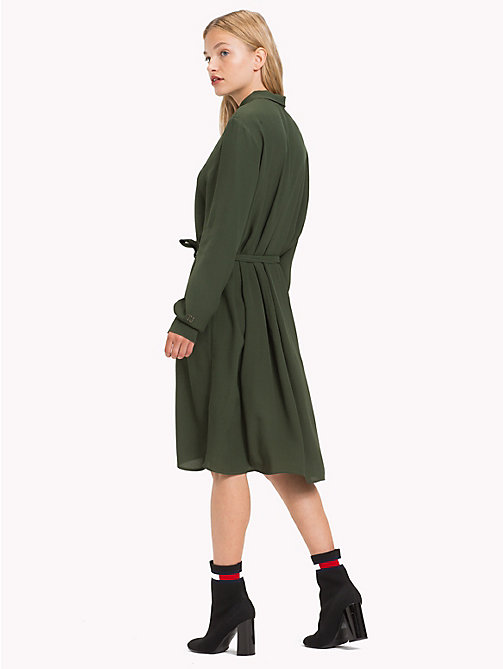 TOMMY JEANS Self-Tie Shirt Dress - KOMBU GREEN - TOMMY JEANS Dresses & Skirts - detail image 1