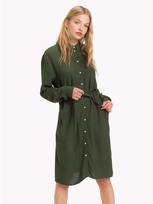 TOMMY JEANS Self-Tie Shirt Dress - KOMBU GREEN - TOMMY JEANS Dresses - main image