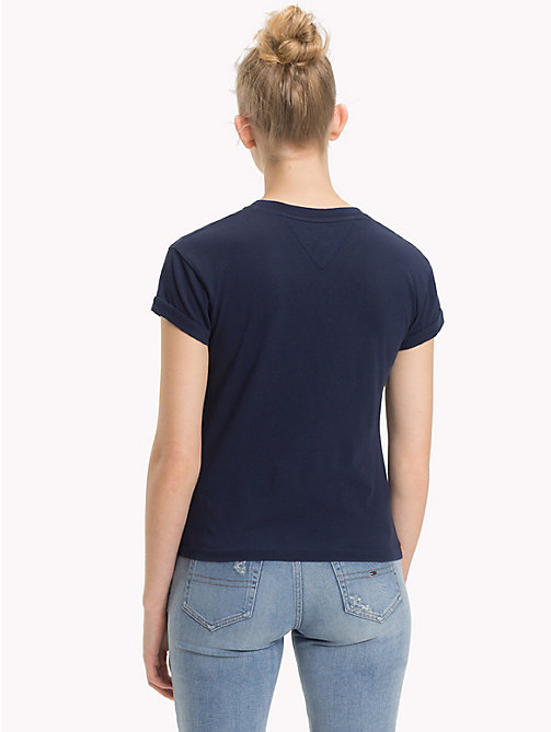 TOMMY JEANS Cropped V-Neck T-Shirt - BLACK IRIS - TOMMY JEANS Tops - detail image 1