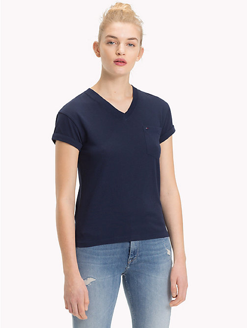 TOMMY JEANS Cropped V-Neck T-Shirt - BLACK IRIS - TOMMY JEANS Tops - main image