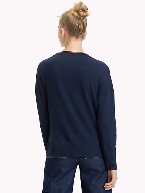 TOMMY JEANS Relaxed Fit Long Sleeve Crepe Top - BLACK IRIS - TOMMY JEANS Tops - detail image 1