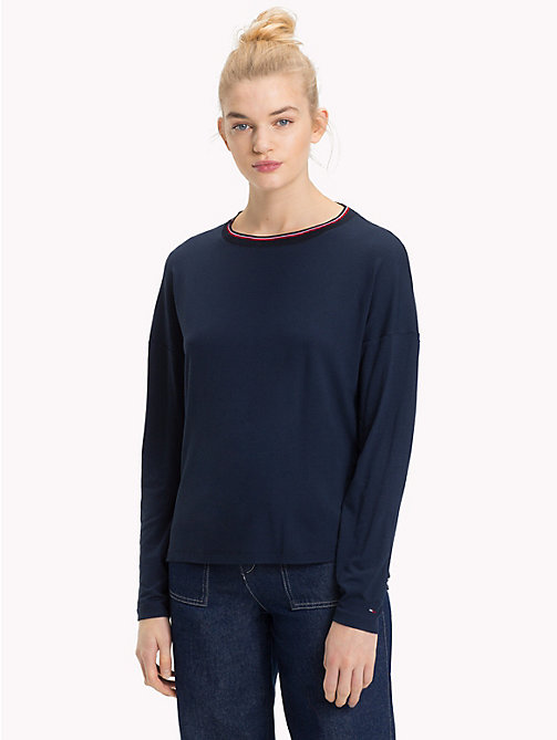 TOMMY JEANS Relaxed Fit Long Sleeve Crepe Top - BLACK IRIS - TOMMY JEANS Tops - main image