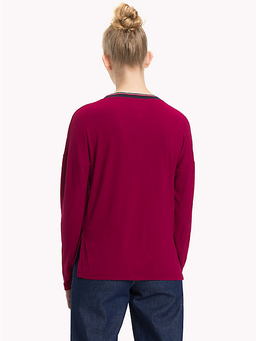 TOMMY JEANS Relaxed Fit Long Sleeve Crepe Top - RUMBA RED - TOMMY JEANS Tops - detail image 1