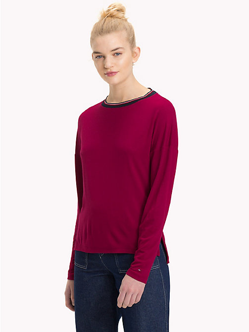 TOMMY JEANS Relaxed Fit Long Sleeve Crepe Top - RUMBA RED - TOMMY JEANS Tops - main image
