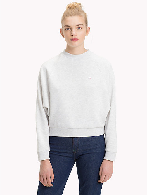TOMMY JEANS Comfort Fit Raglan Sweatshirt - PALE GREY HEATHER - TOMMY JEANS Sweatshirts & Hoodies - main image