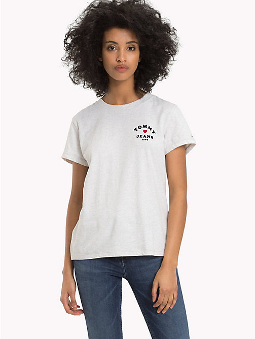 TOMMY JEANS Heart Logo T-Shirt - PALE GREY HEATHER - TOMMY JEANS Tops - main image
