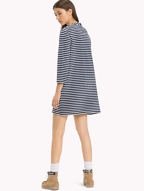 TOMMY JEANS Easy Jersey Long Sleeve Dress - BRIGHT WHITE/BLACK IRIS - TOMMY JEANS Mini - detail image 1