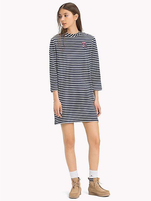 TOMMY JEANS Easy Jersey Long Sleeve Dress - BRIGHT WHITE/BLACK IRIS - TOMMY JEANS Mini - main image