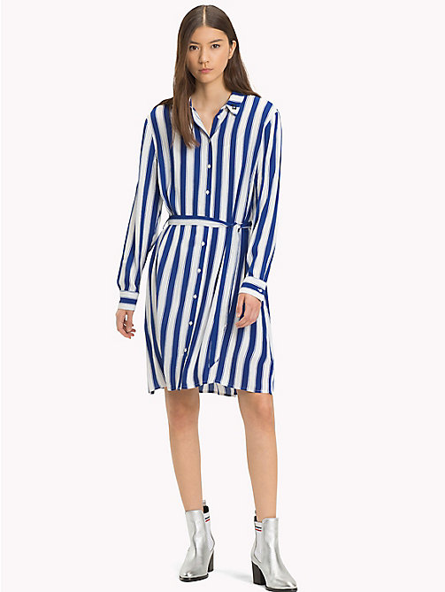 TOMMY JEANS Stripe Regular Fit Shirt Dress - SURF THE WEB / BRIGHT WHITE - TOMMY JEANS Shirt Dresses - main image