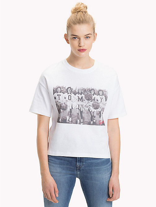 TOMMY JEANS Cheerleader Photo Print T-Shirt - BRIGHT WHITE - TOMMY JEANS Tops - main image