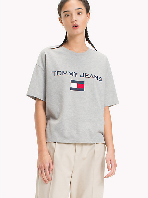 TOMMY JEANS 90s Logo Crew-Neck T-Shirt - LIGHT GREY HTR - TOMMY JEANS Capsule - main image