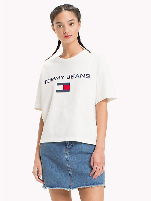 TOMMY JEANS 90s Logo Crew-Neck T-Shirt - BRIGHT WHITE - TOMMY JEANS TOMMY JEANS Capsule - main image