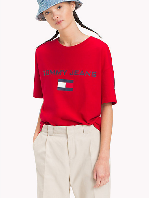 TOMMY JEANS 90s T-shirt met ronde hals en logo - BARBADOS CHERRY - TOMMY JEANS Capsule - main image