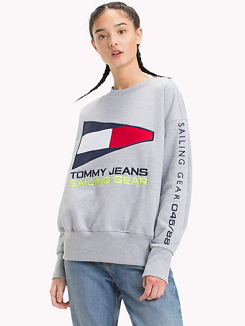 TOMMY JEANS Sweat logo Sailing 90s - LIGHT GREY HTR - TOMMY JEANS Sweats - image principale