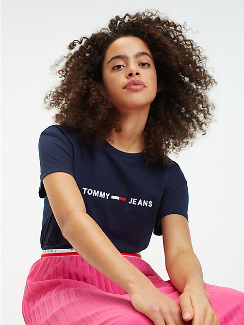 TOMMY JEANS Cropped Fit T-Shirt mit Logo - BLACK IRIS - TOMMY JEANS Tops - main image